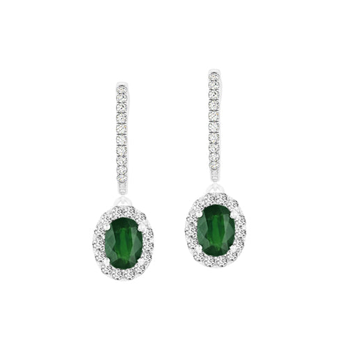 Custom Emerald Diamond Drop Earrings