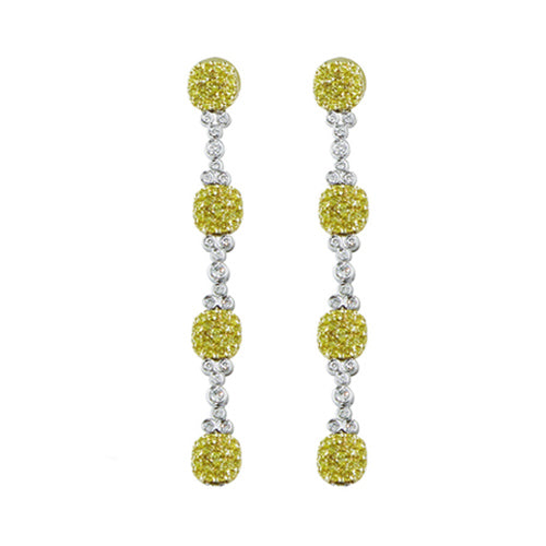 Custom Cushion Shape Diamond Drop Earrings