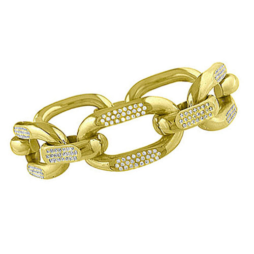 Pre-Owned Gold Diamond Curb Bracelet