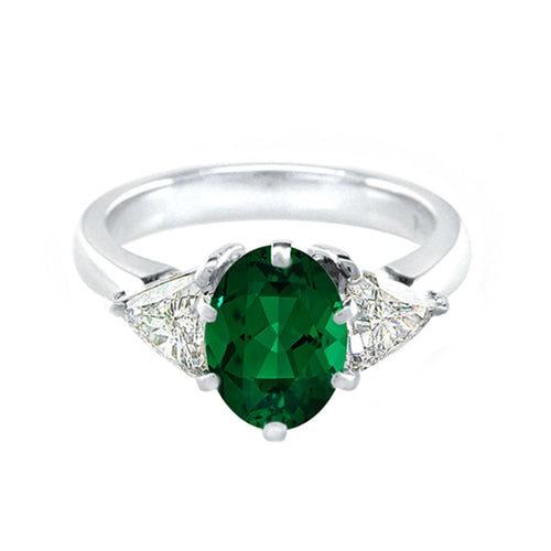 Oval Emerald Trillion Diamond  Ring