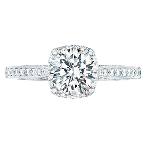 Tacori Dantela Round Halo Diamond Pave Engagement Ring