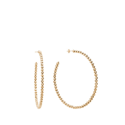 Custom Gold Small Beaded Hoop Earrings