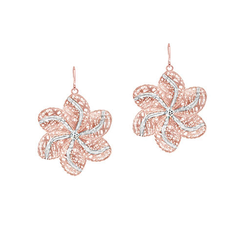 Custom Diamond Flower Design Earrings