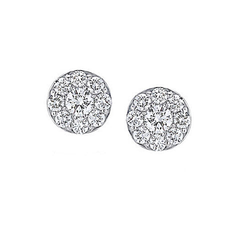 Custom Round Pave Diamond Stud Earrings