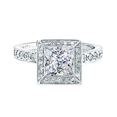 Princess Halo Diamond Engagement Ring