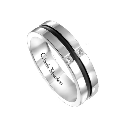 Mens Custom Modern Diamond Wedding Band Ring