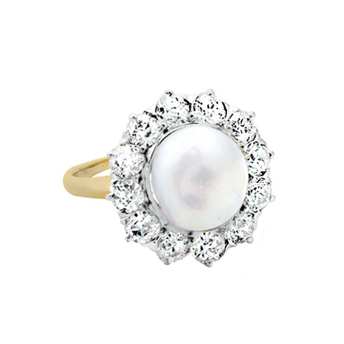 Pre-Owned Diamond Halo Pearl Ring