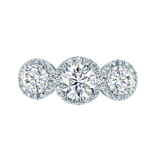 Howard Design Three Stone Halo Engagement Ring
