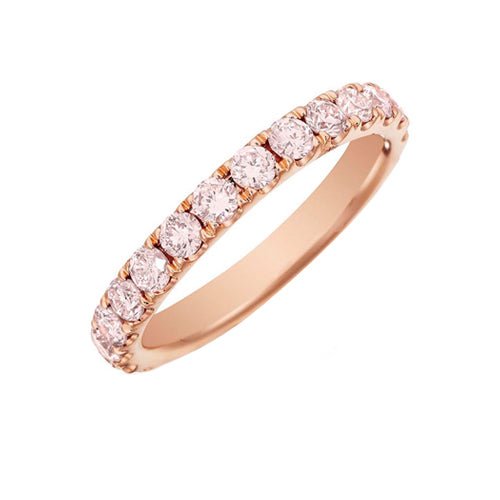 Custom Pink Diamond Eternity Wedding Band Ring