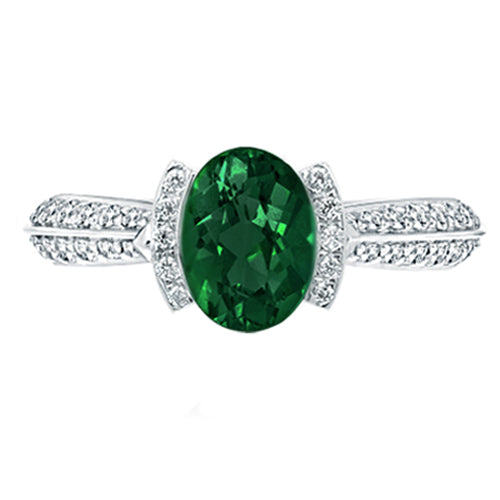 Oval Emerald Pave Diamond Gemstone Ring