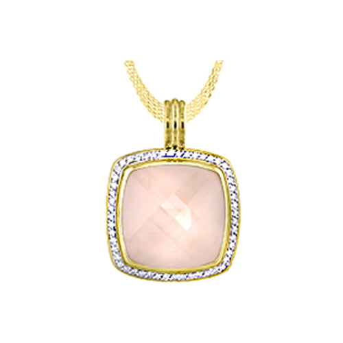 Rose Quartz and Diamond Gold Pendant