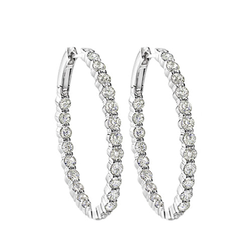 Diamond Inside-Out Oval Hoop Earrings