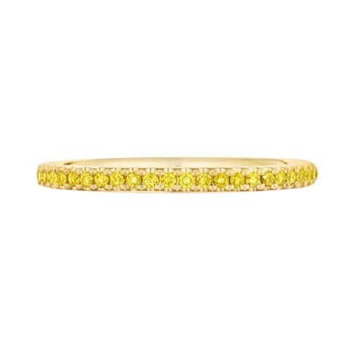 Custom Pave Fancy Yellow Diamond Eternity Wedding Band Ring