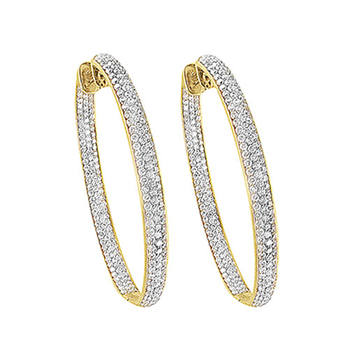 Custom In-Out Pave Diamond Hoop Earrings