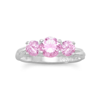 Pink and Pretty! Ring with 3 Pink CZs