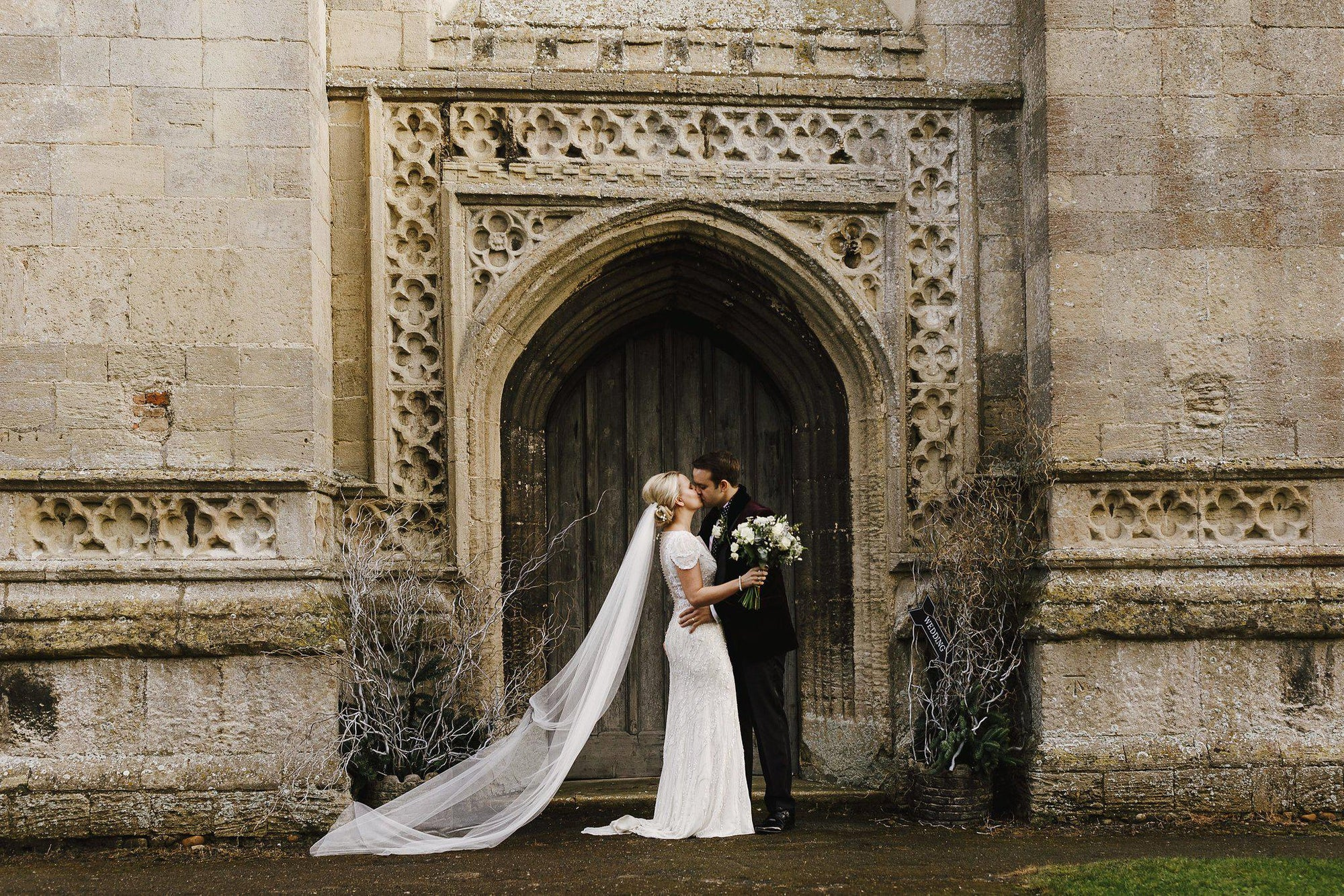 Real Bride | Jenny Packham Nashville Dress | Single Tier Silk Style Veil