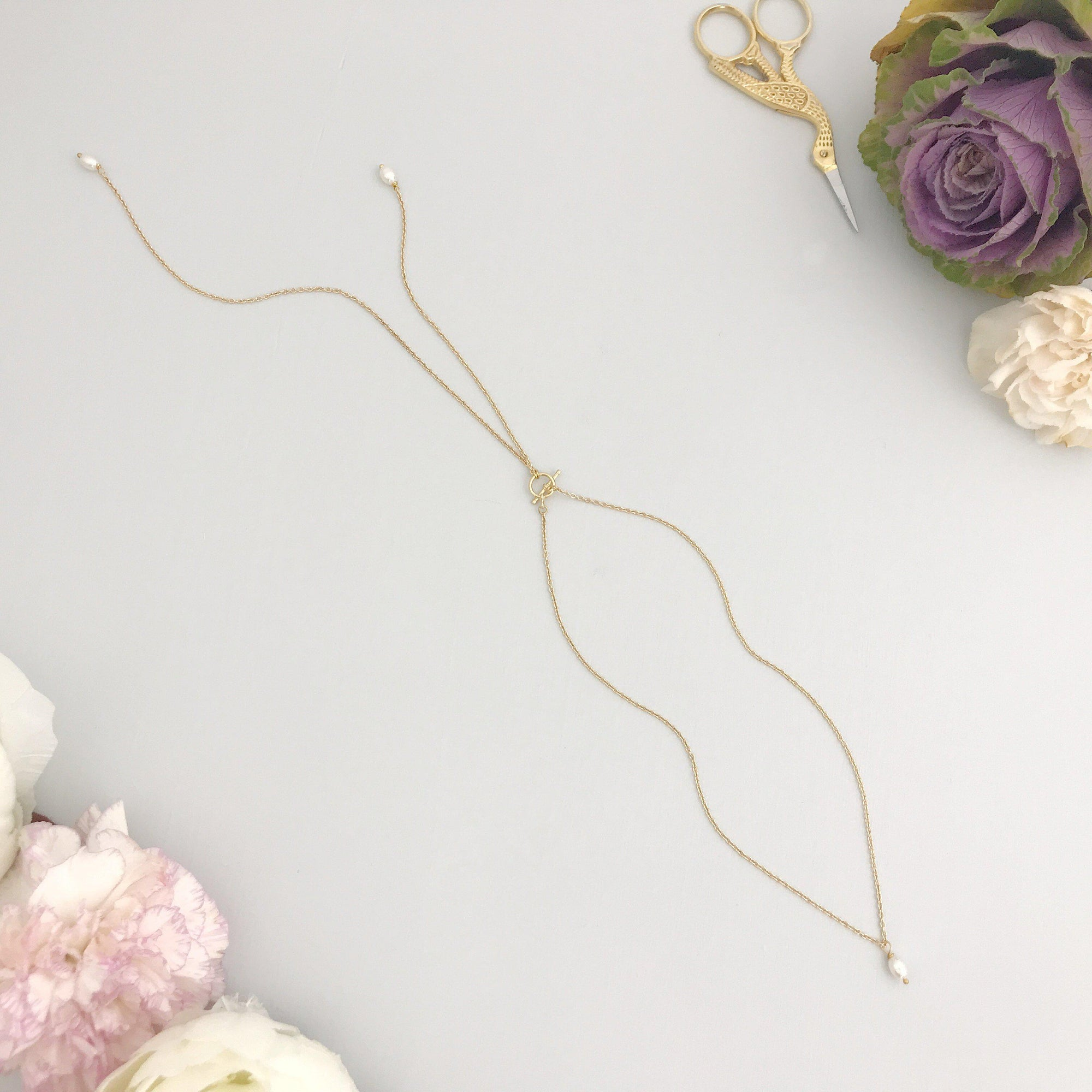 Our New Gold Pearl Back Drop Necklace Lariat for Wedding - 'Charlotte'