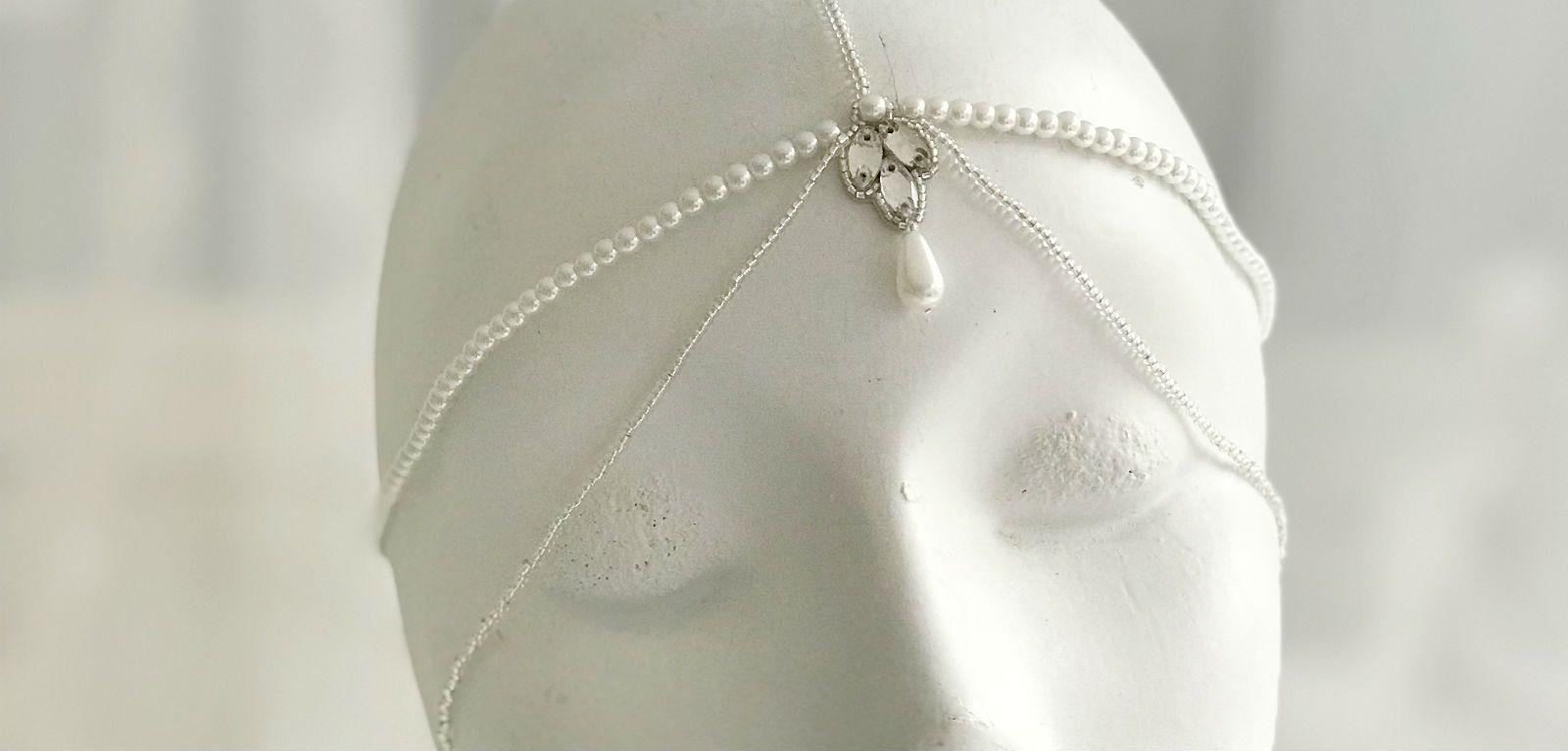 silver and pearl bridal headchain