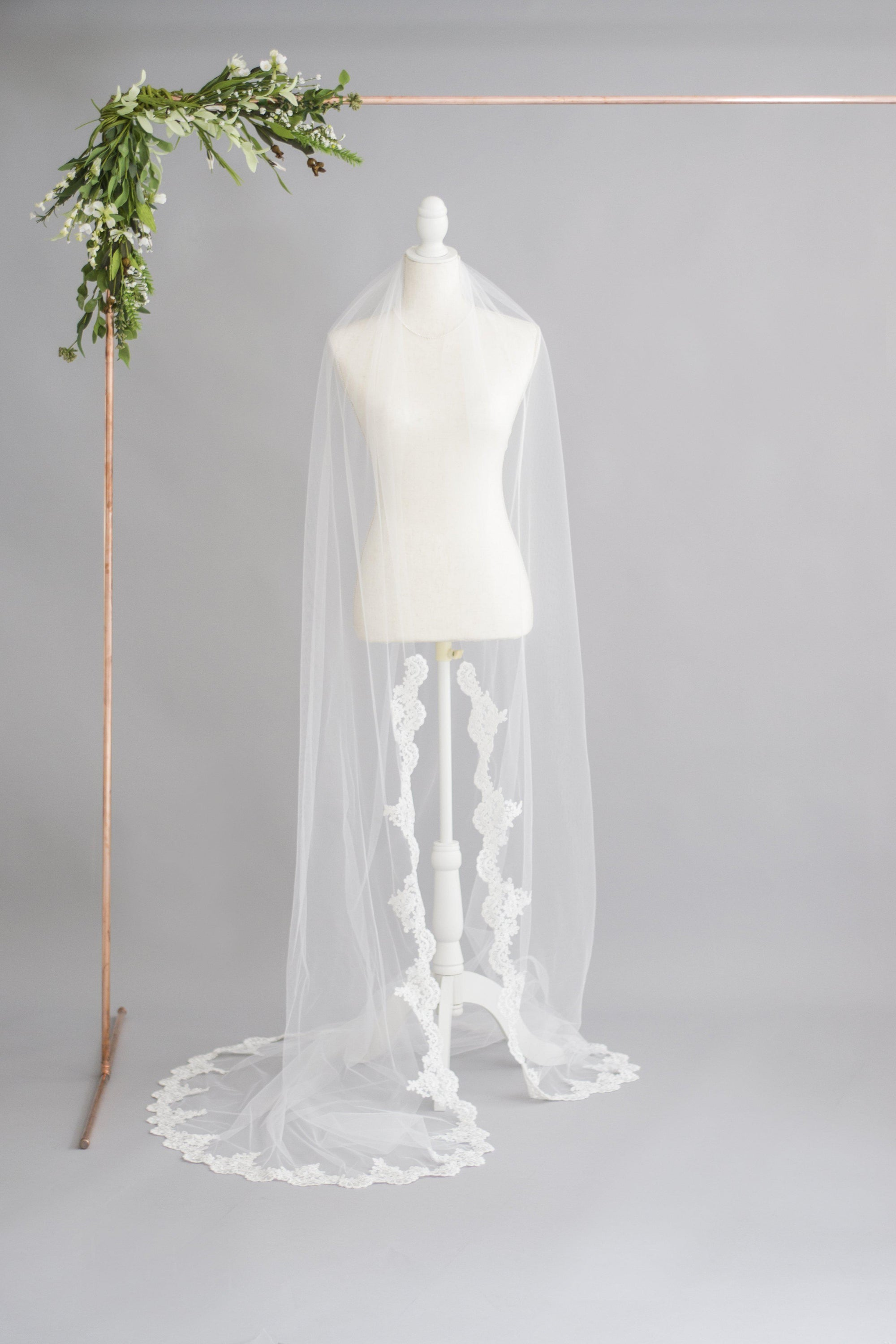 Our New Semi Edged Wedding Veil with Lace Starting Around Wrists - Emma