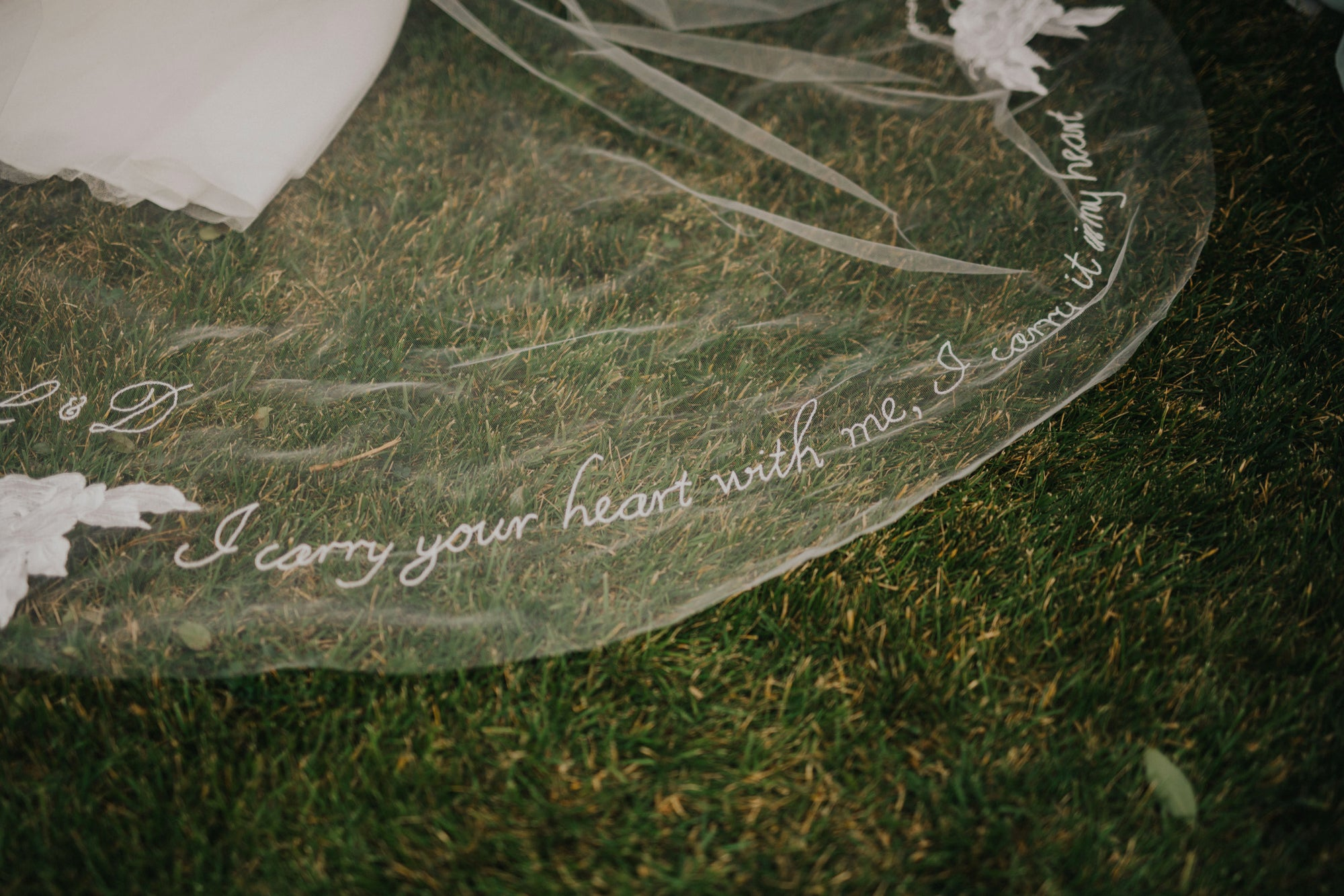 Real bride | Lillian Wild Gown | Bespoke Hand Embroidered Barely There Veil, Skylar