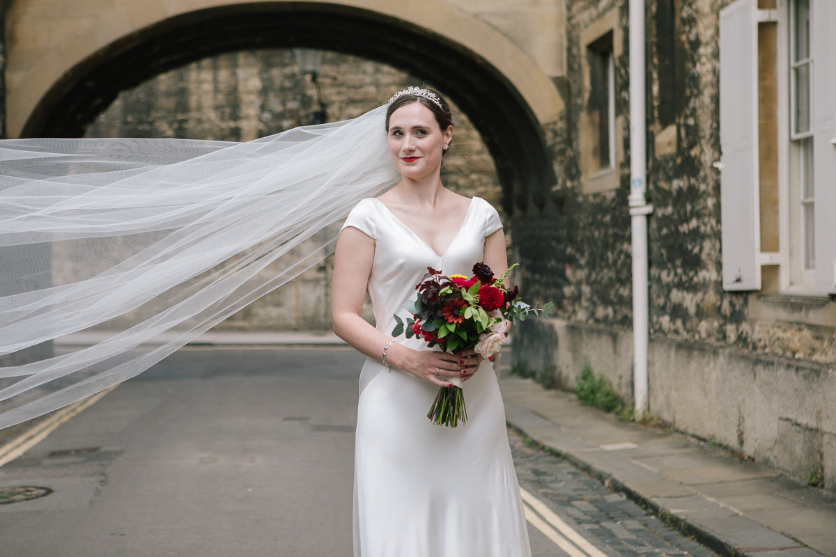 Real Bride | Andrea Hawkes Bridal Gown | Extra Wide Single Tier Veil Niacae