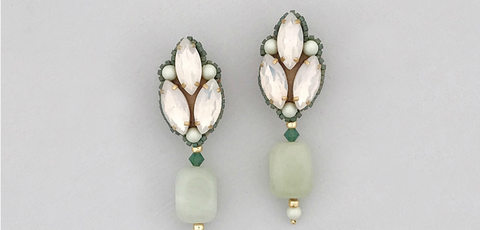 jade gold opal wedding earrings