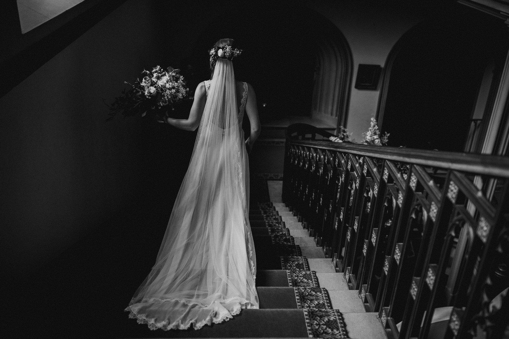 Real Bride | Bespoke Andrea Hawkes Dress | Silk Style Semi Edge Leaf Veil Cali