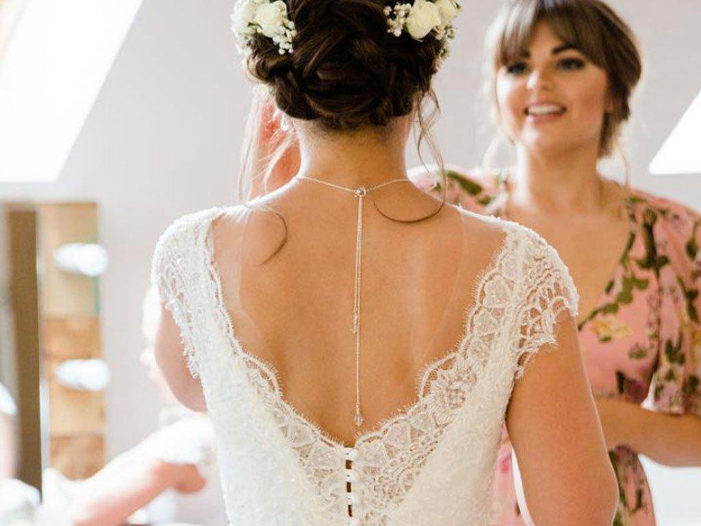 Real Bride | Sassi Holford Dress | Crystal Back Drop Necklace Cleo