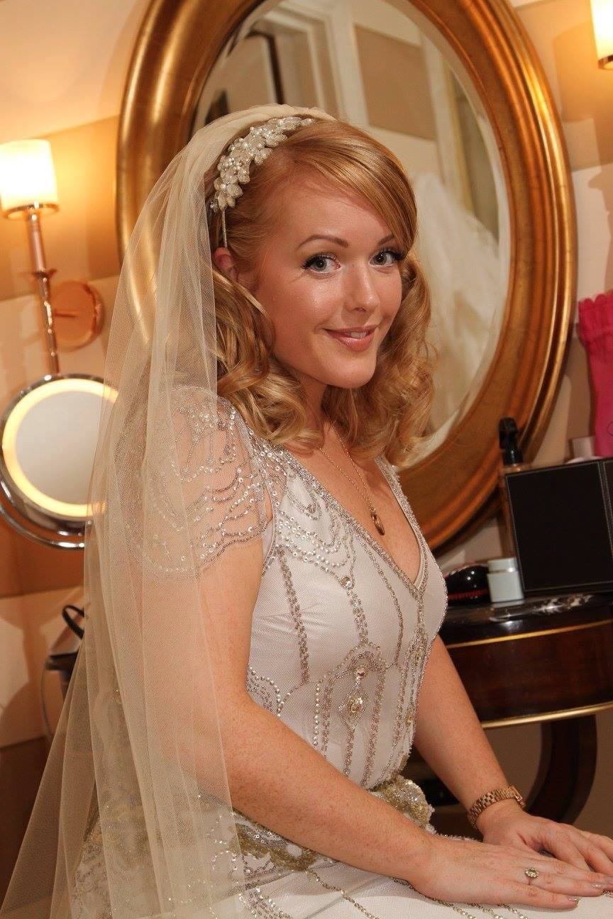Laurie headband on Prudence, one of our real brides