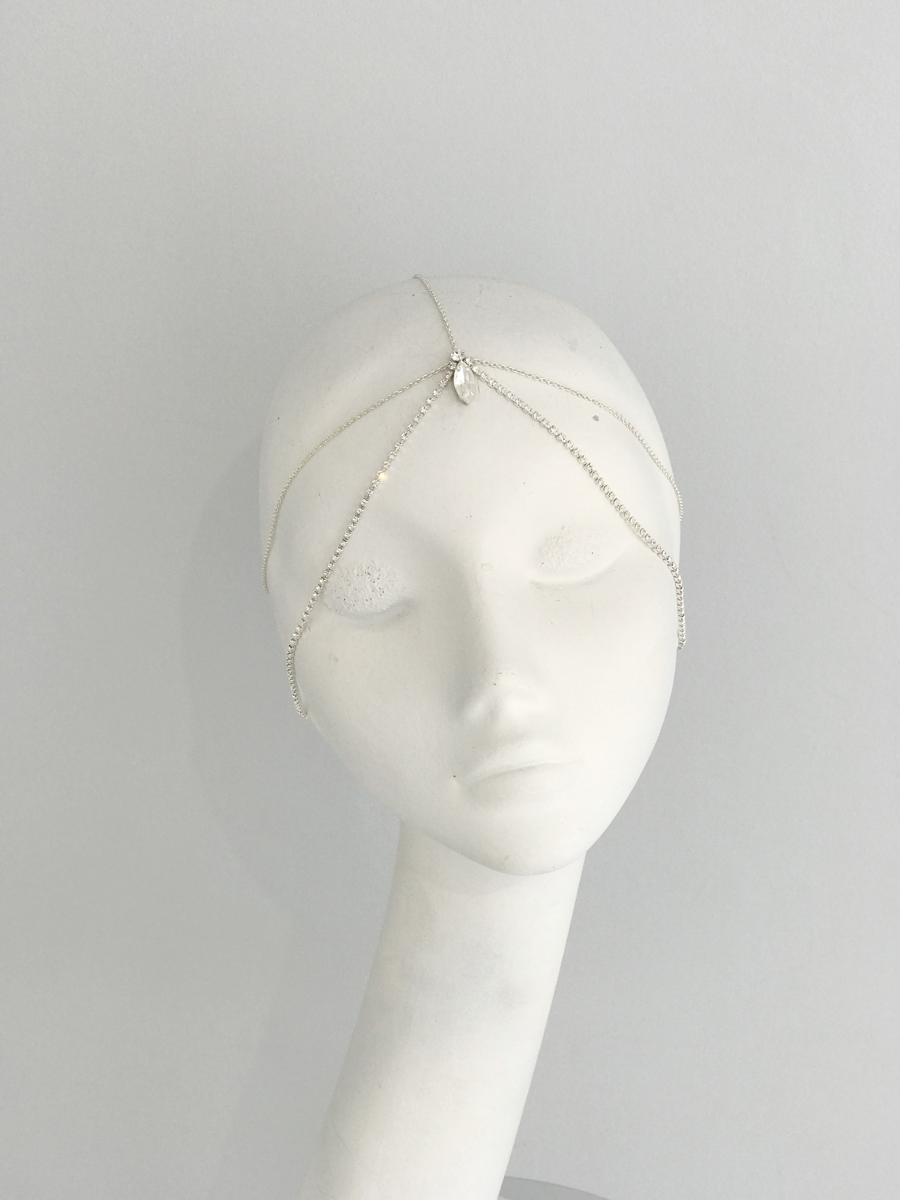silver crystal chain bridal head chain