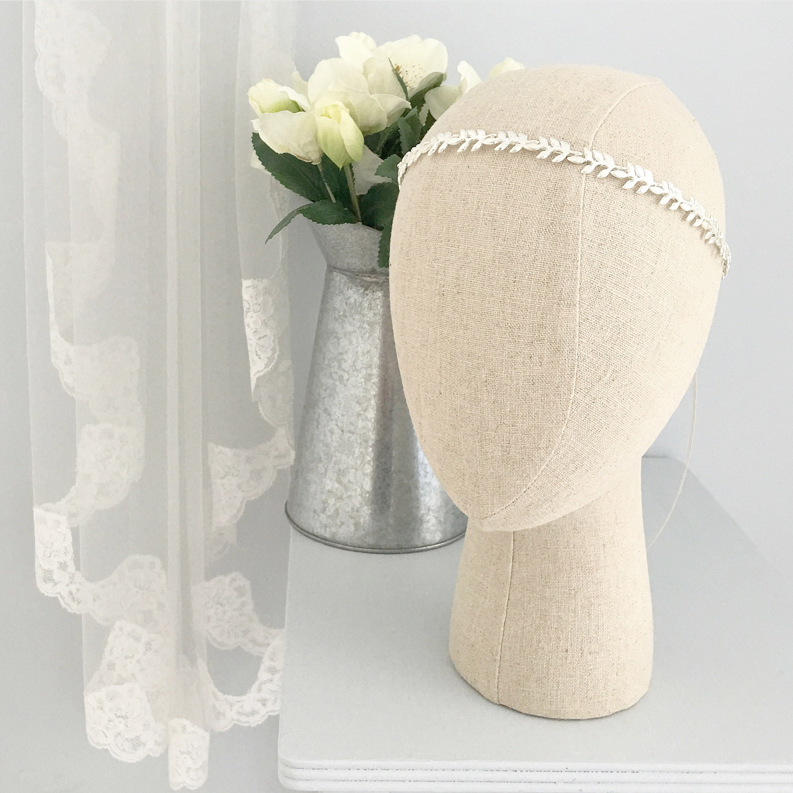silver leaf wedding hair vine