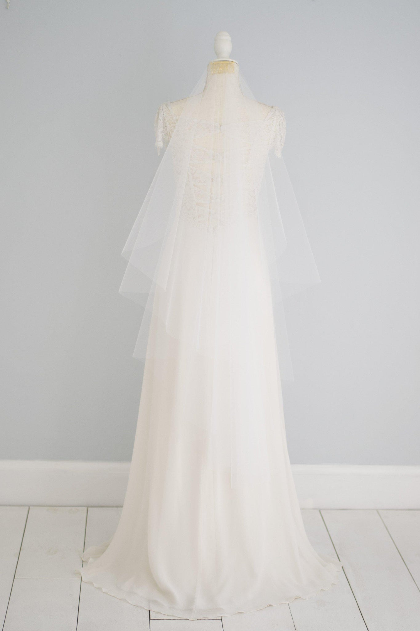 Waterfall cut barely there wedding veil - 'Emery'