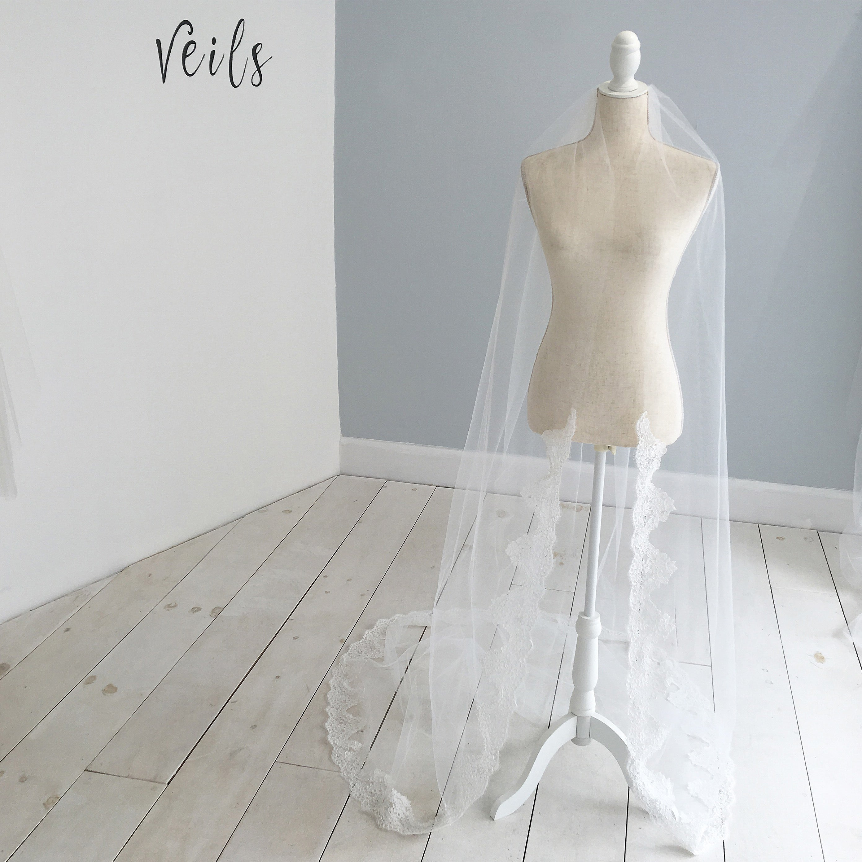 bespoke custom wedding veil for charlie brear dress