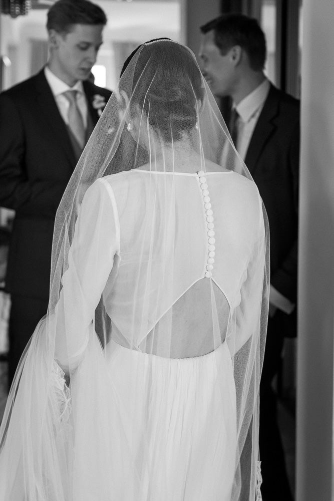 Bespoke crisp silk barely there veil with Cali lace - Britten Bride - Paulina