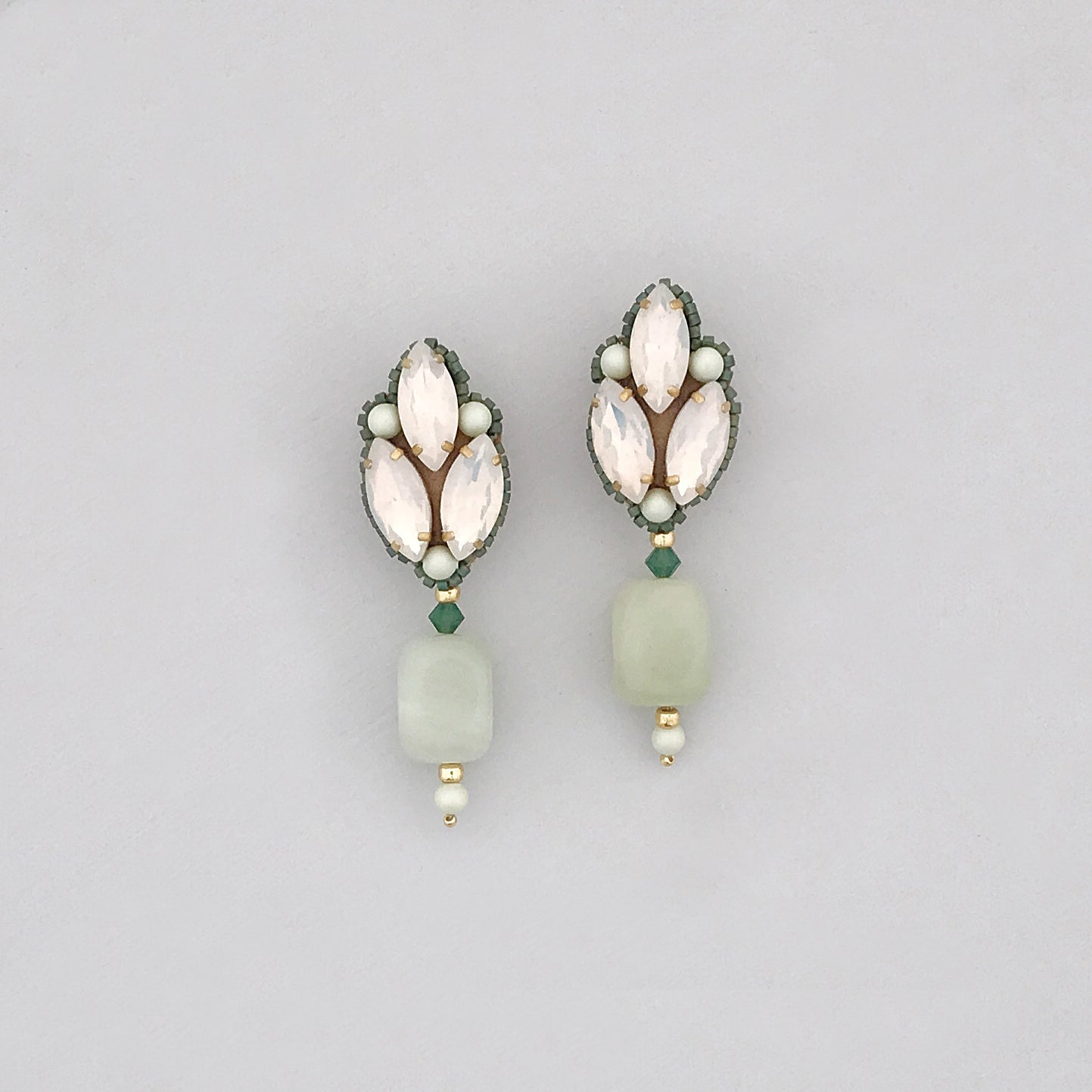 green opal gold semi precious earrings