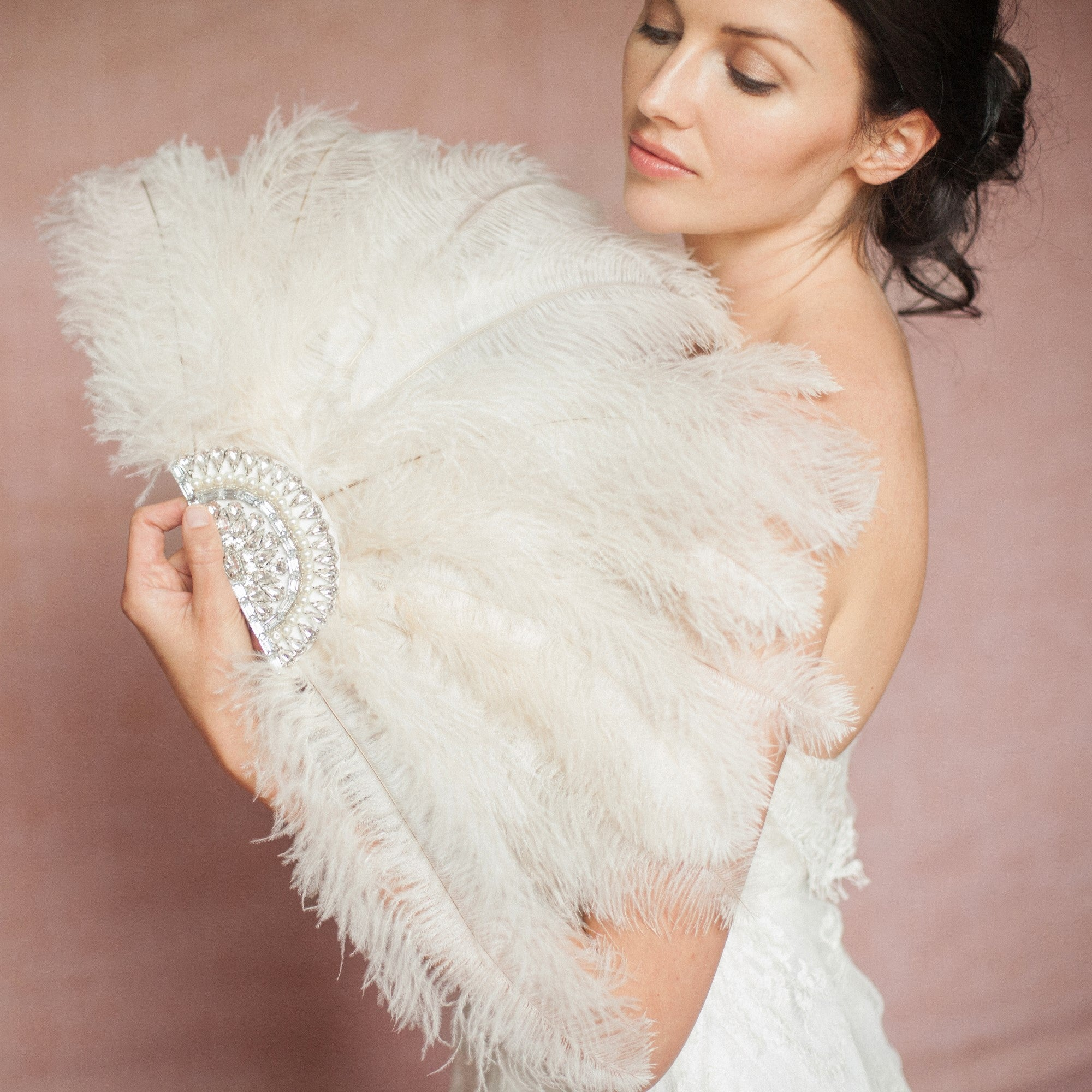 ivory ostrich feather bridal fan