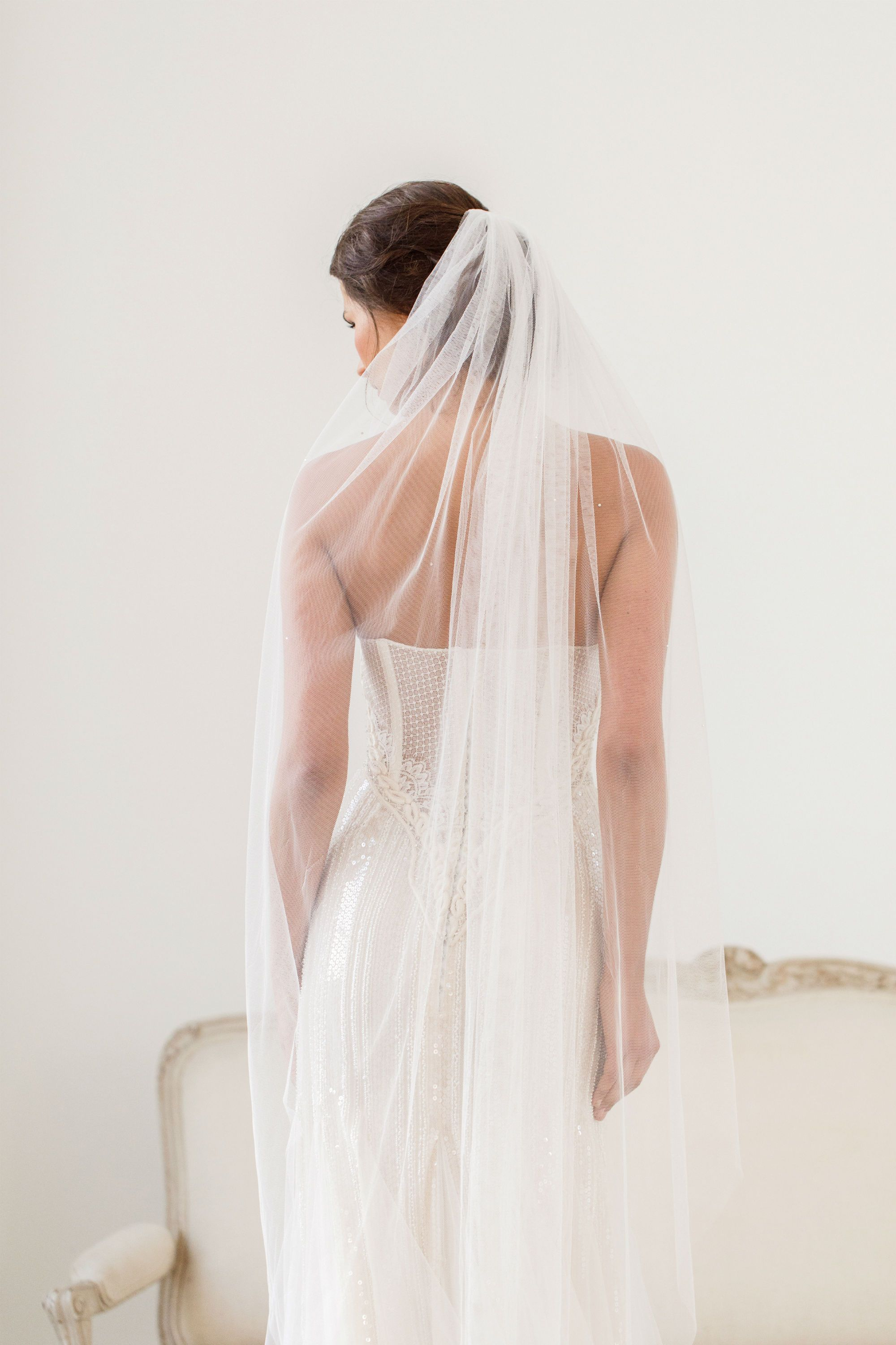 Silk style wedding veil with crystal scatter- Jessie
