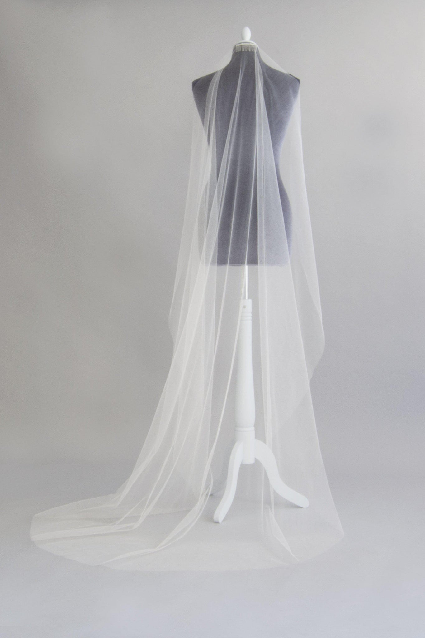 Crisp silk barely there wedding veil- Margot