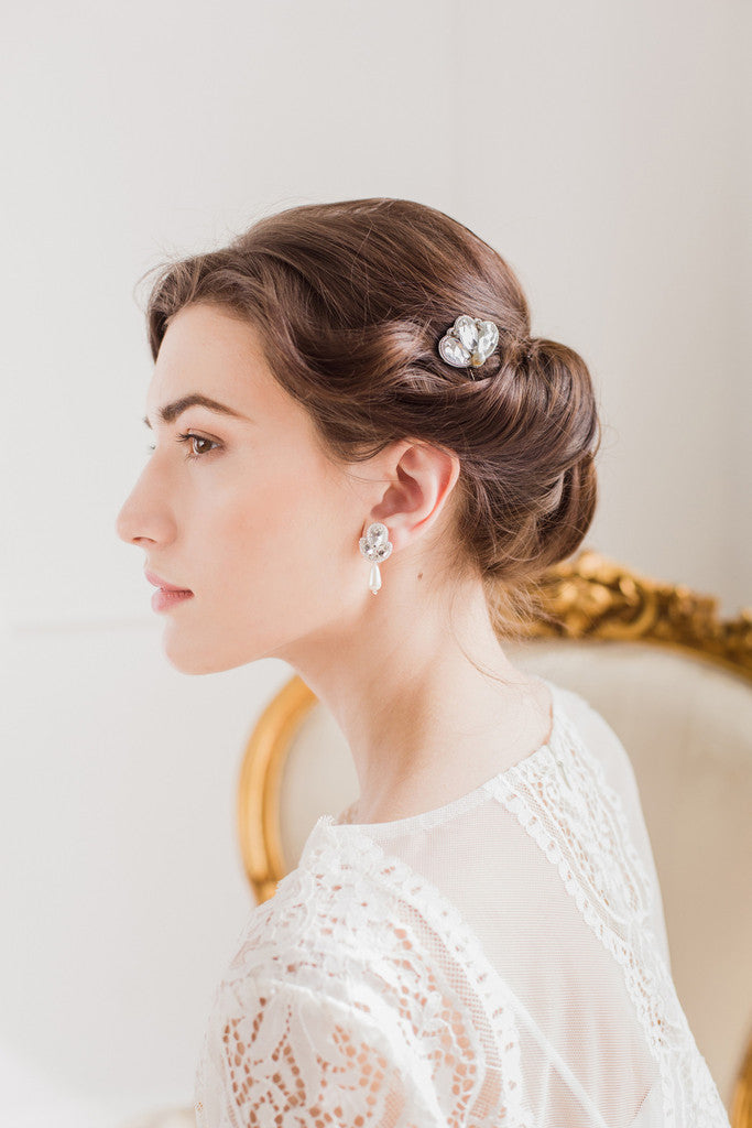 silver and pearl vintage wedding hair pins