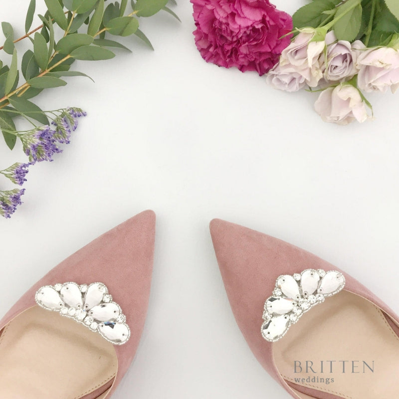 Deco Crystal Wedding Shoe Clips | Britten Weddings Blog | What are Bridal Shoe Clips