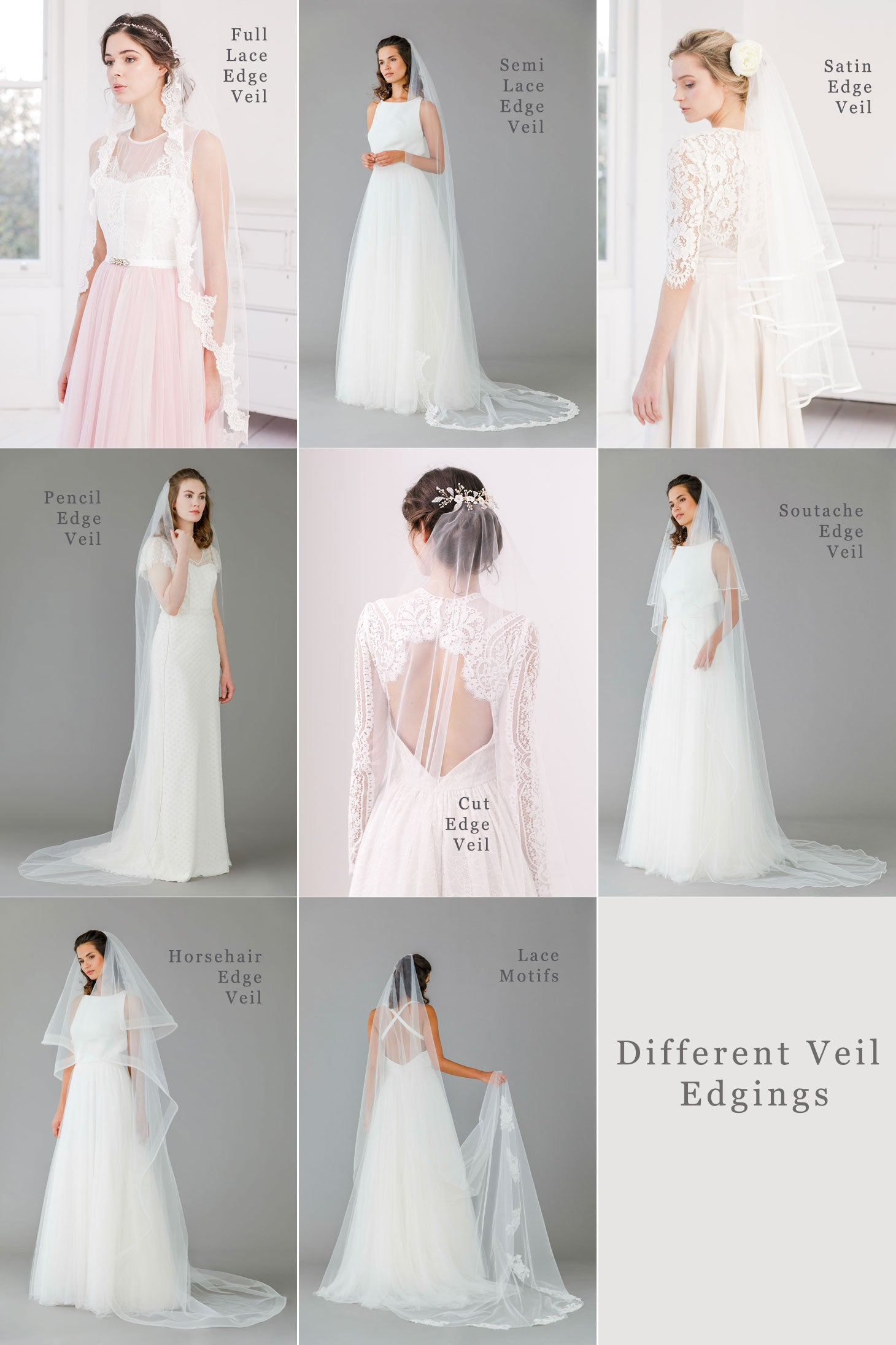 what are the different types of veil edgings available