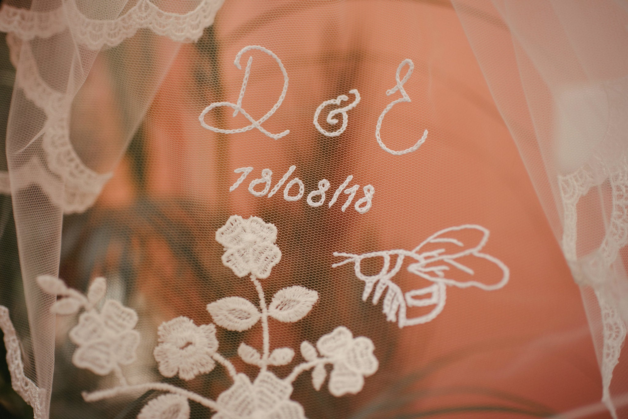 hand embroidered wedding veil