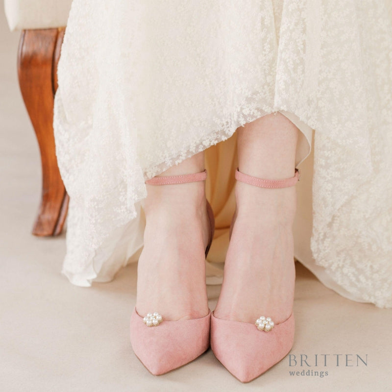 Flower Pearl Wedding Shoe Clips| Britten Weddings Blog | What is a Bridal Shoe Clip