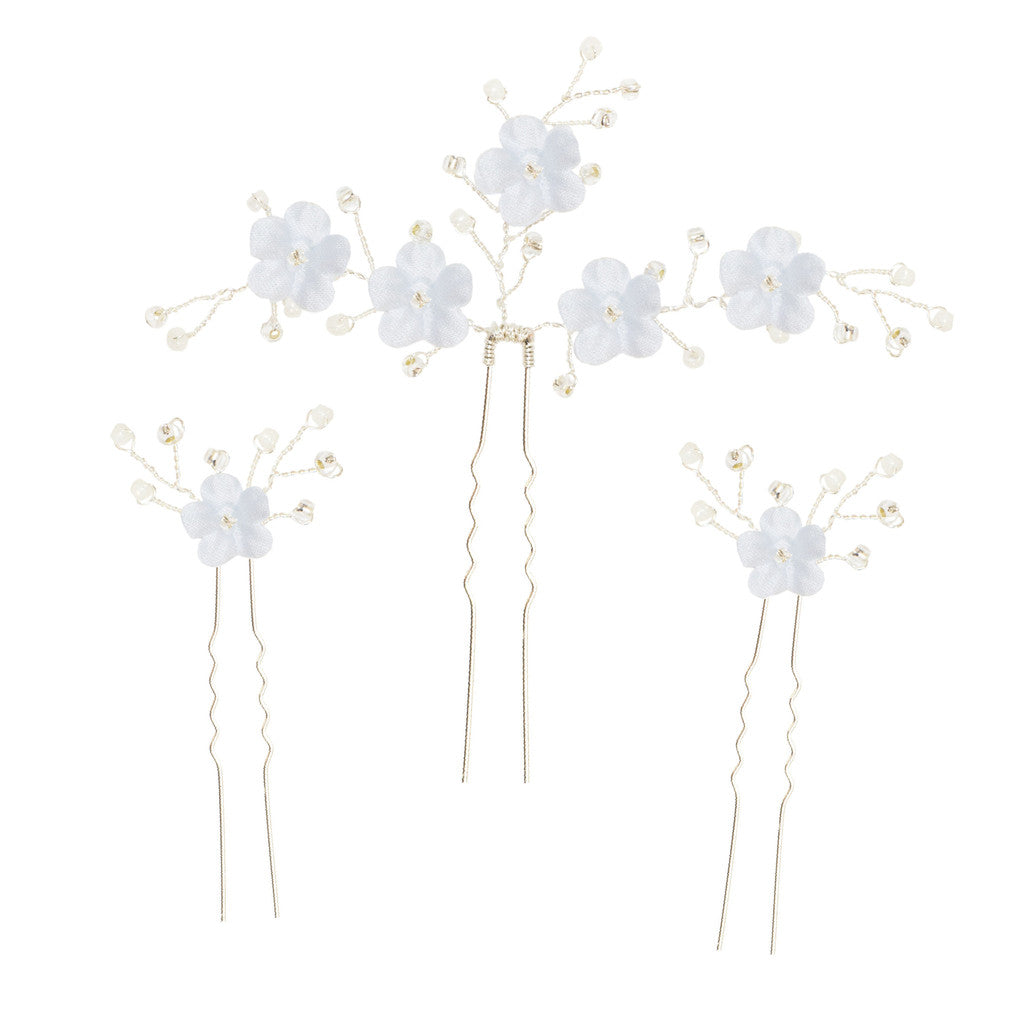 wedding hair pins with blue flowers