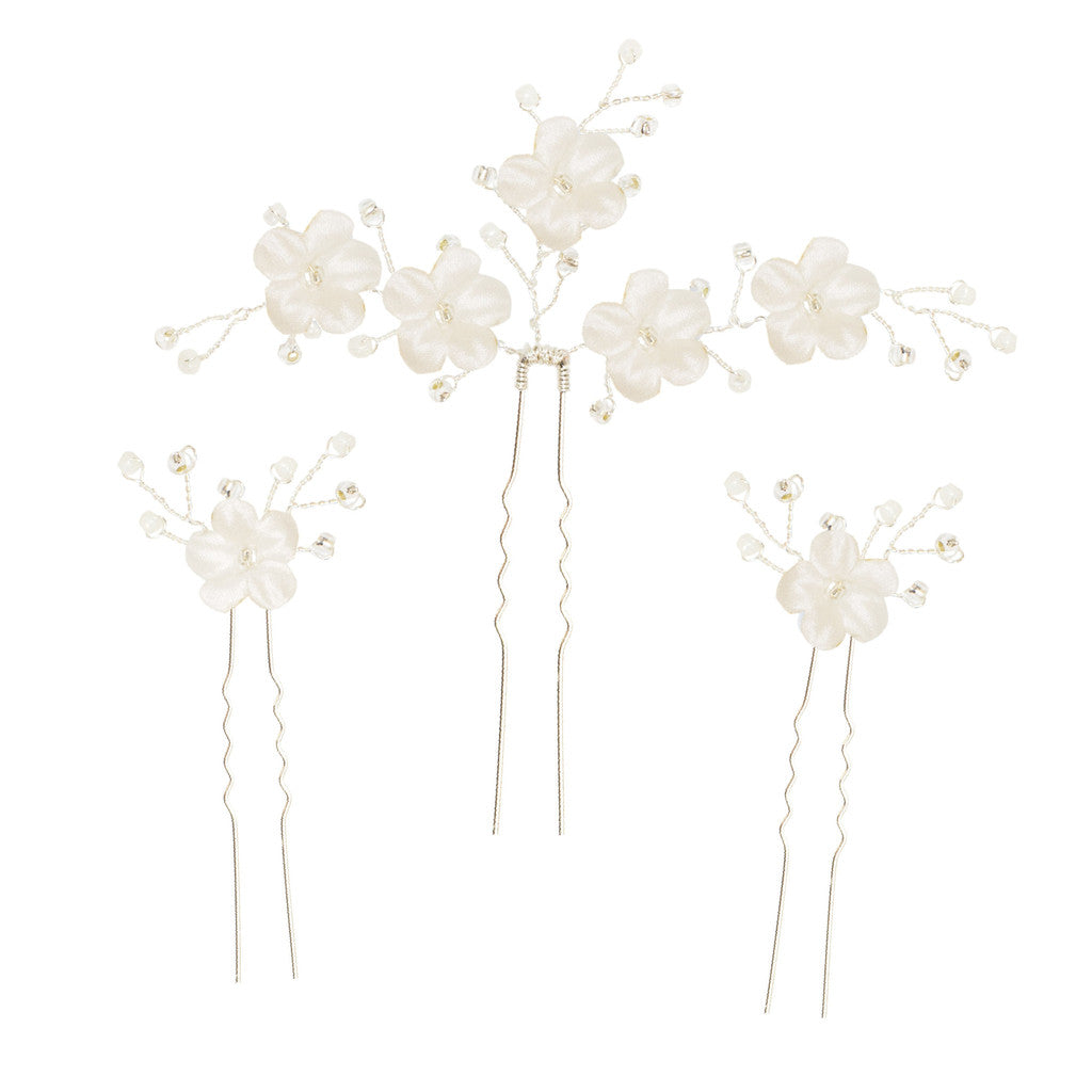 wedding hair pins with white flowers