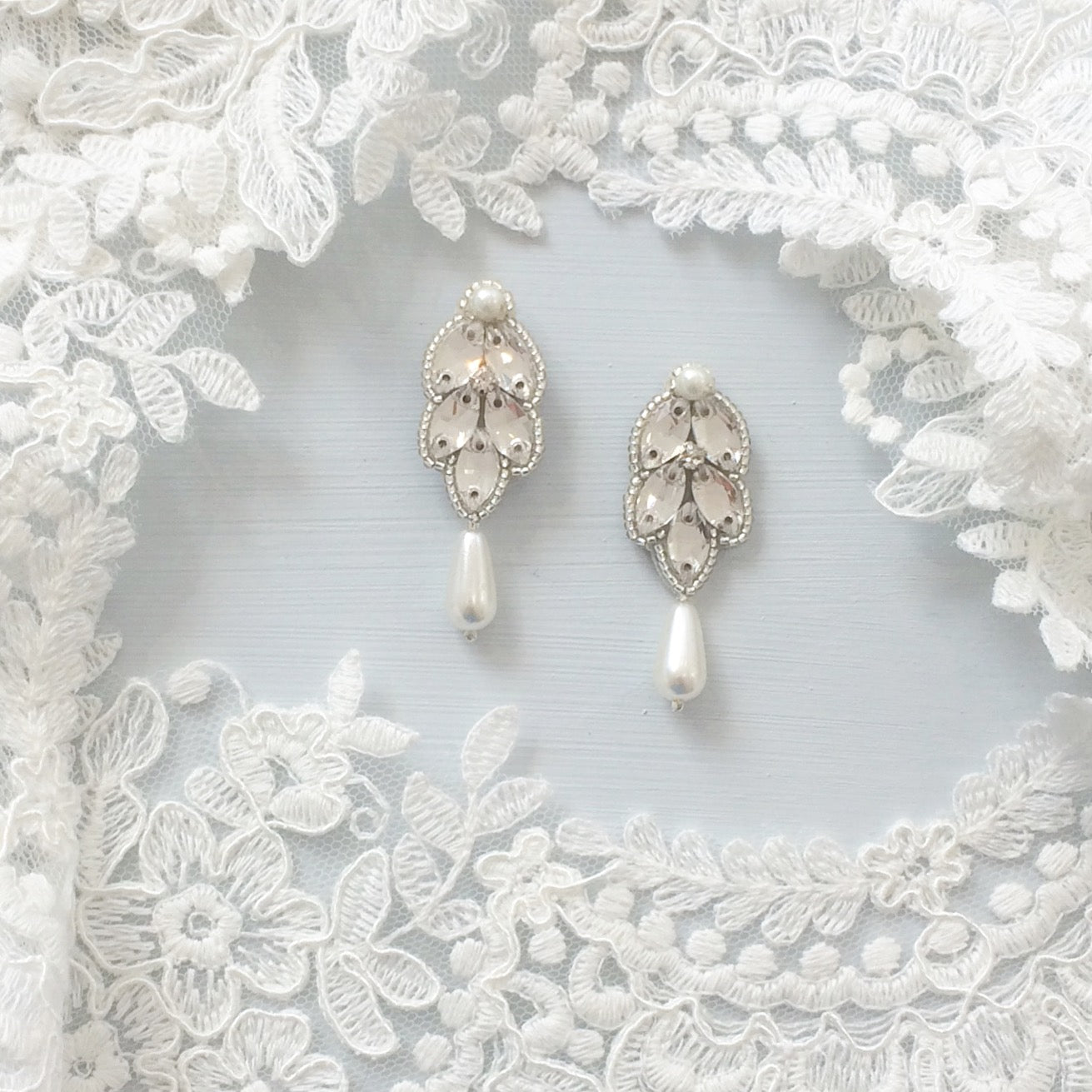 crystal and pearl wedding earrings