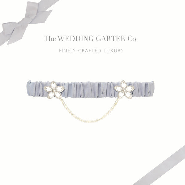 something blue silk wedding garter