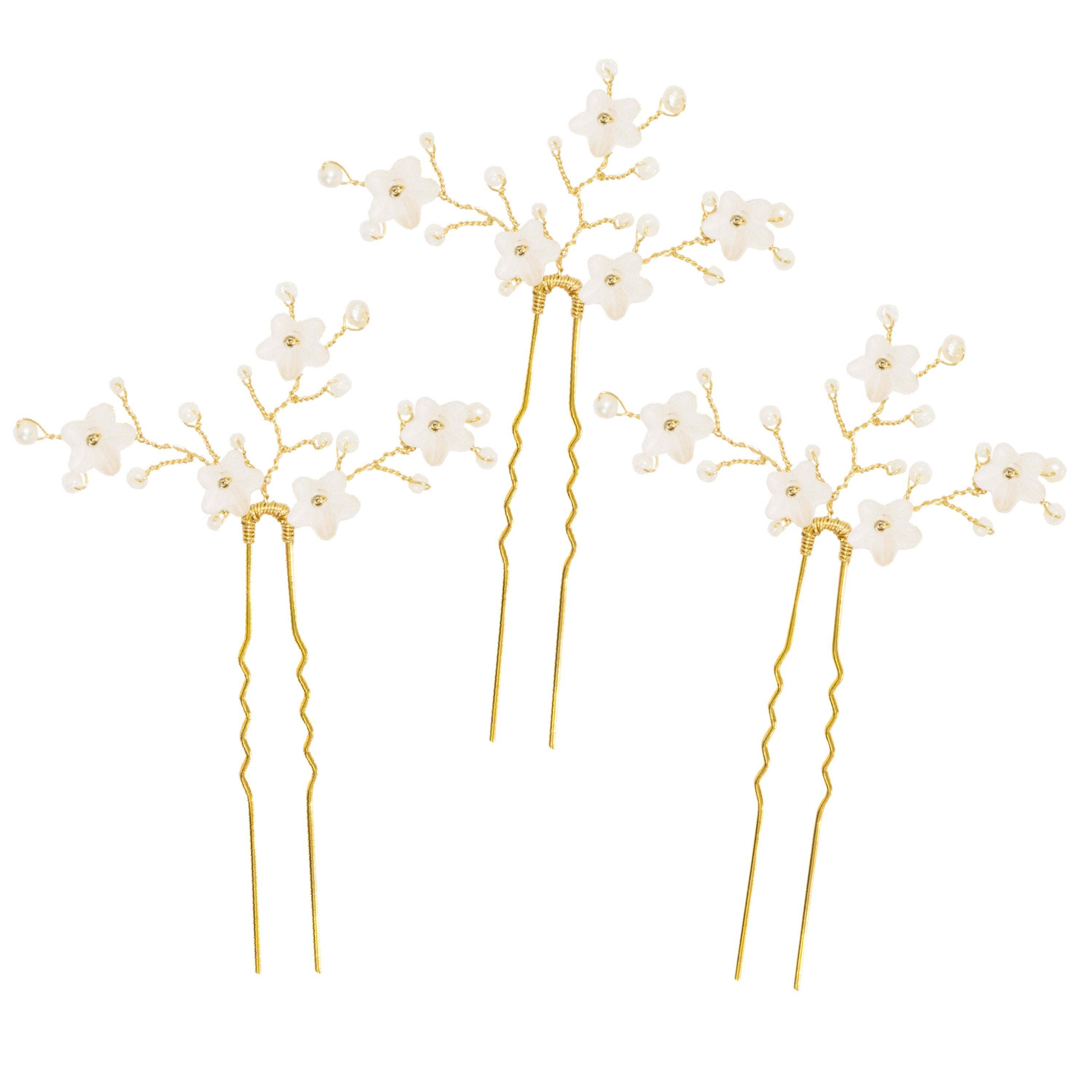 Gold flower wedding hair pins