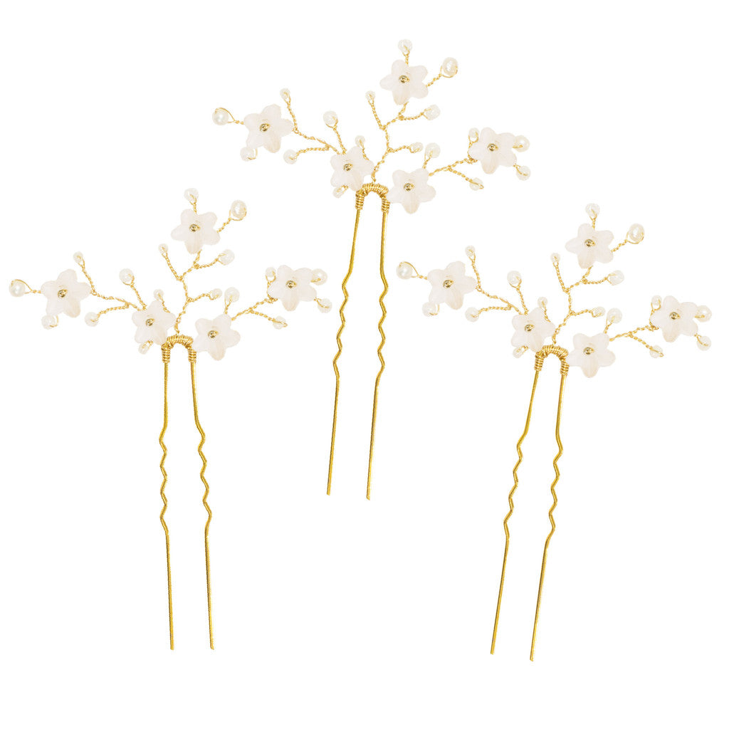 gold and ivory flower wedding hair pins