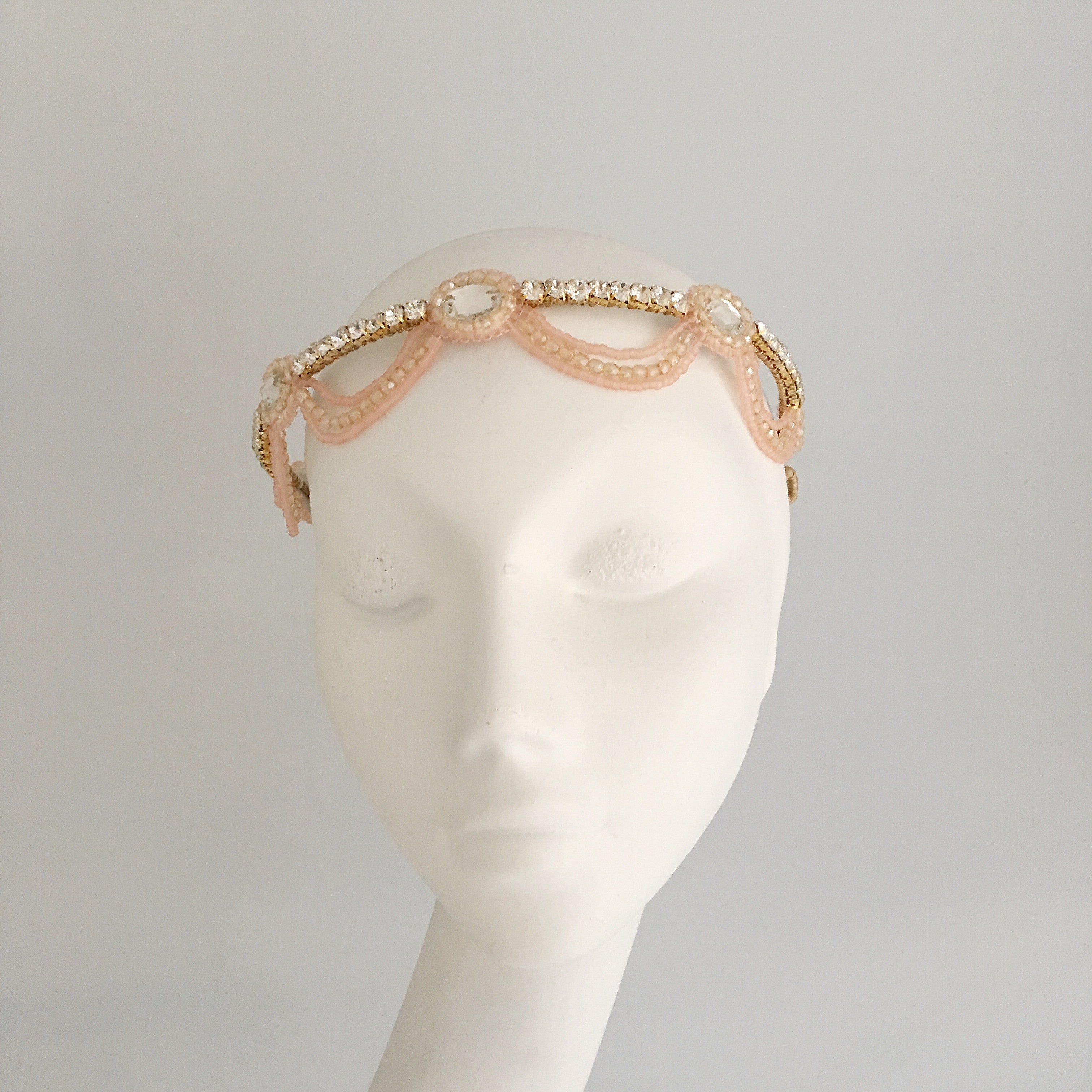 1920s deco rose gold headband